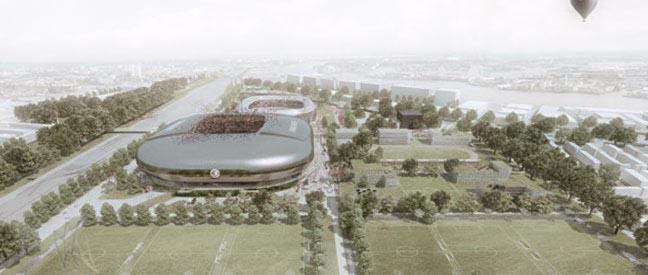 Gelekte schets nieuw stadion