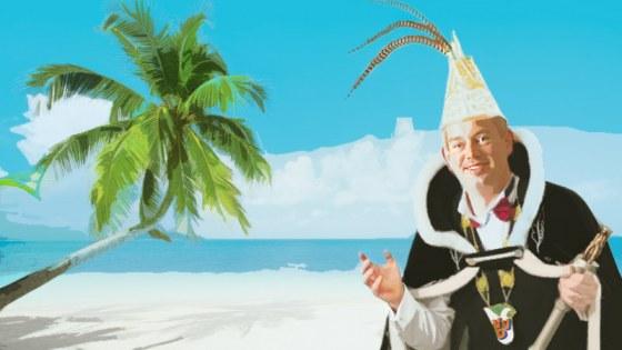 Maarten van den Donk op een bounty-eiland