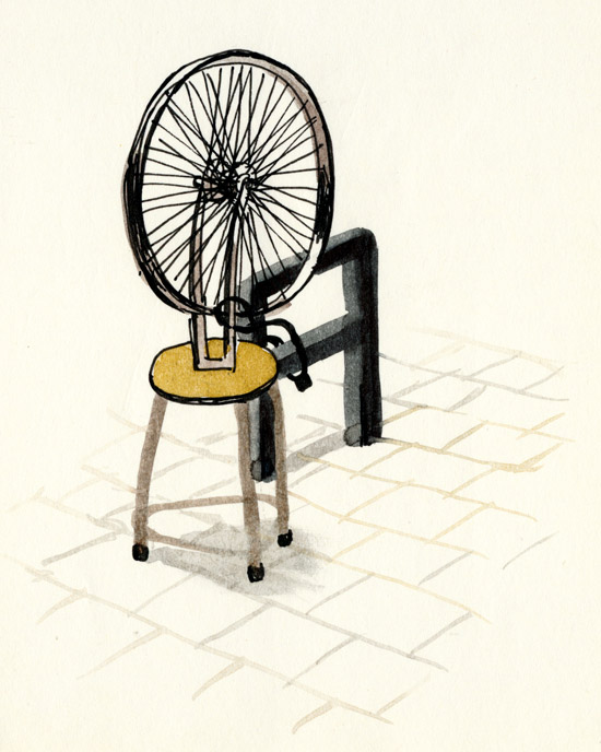 Duchamps' fietswiel, vastgezet aan een rek voor het Boijmans, vastgelegd door IkRotterdam.
