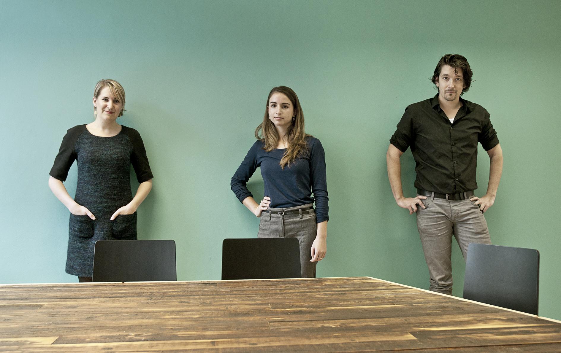 Van links naar rechts: Marianne van de Velde, Tabitha Mann en Yoeri Meessen.