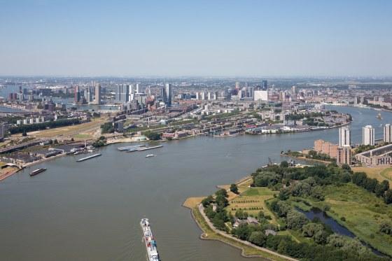Locatie van de potentiele derde stadsbrug aan de oostkant van Rotterdam