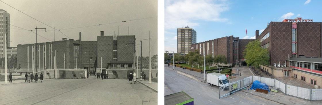 Duitse-verdedingsmuur-bij-de-G.J.-de-Jonghweg-te-Rotterdam-en-de-Academie-van-Beeldende-Kunsten-en-Technische-wetenschappen-1945tweeluik