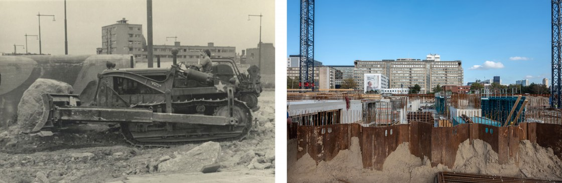 Op-het-land-van-Hoboken-wordt-met-behulp-van-een-bulldozer-een-Duitse-verdedingsmuur-gesloopt-door-een-Canadese-militair.-Op-de-achtergrond-een-flat-op-de-hoek-Rochussenstraat-_s-Gravendijkwaltweeluik